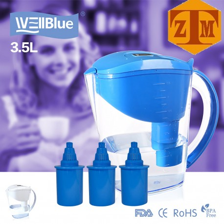 ALKALINE pH PLUS BLUE ionized Water PITCHER, 3.5 L By WellBlue, 1 Filter (2 Month Supply).